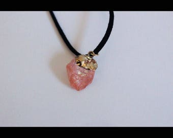 Crystal Necklace Dipped in Gold