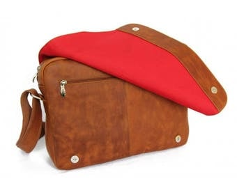 Mj Vintage  Leather Bag Brown-Lining Red