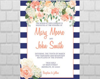PRINTABLE Floral and Stripe Wedding Invitation DESIGN
