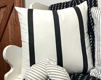 Distressed Triple Stripe pillow cover