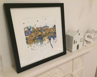 Original A4 Abstract Blue and & Gold Mixed Media Painting