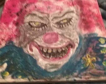It,everybody's favorite clown ,don't we make you laugh,canvas,10 by 10,depressionart,horror paintings,movies