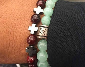 Hematite Cross and Ruby quartzite bracelet