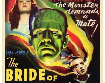 Bride of Frankenstein (1935) 11 x 17 movie poster Boris Karloff Elsa Lanchester Colin Clive sequel Valerie Hobson Universal Monsters