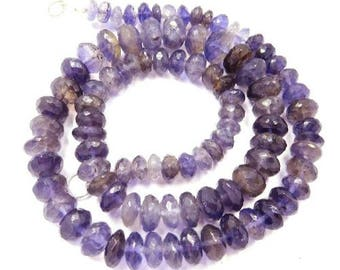 Diy Jewelry Making Natural Gemstone Iolite 6-10 Mm Faceted Rondelle Beads 18 Necklace