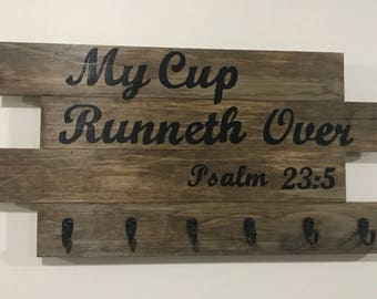 Coffee Cup Holder Wooden Sign