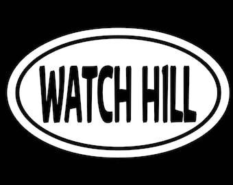 "WATCH HILL - Rhode Island  - white vinyl die-cut peel and stick window decal oversize 4"" x 6"""