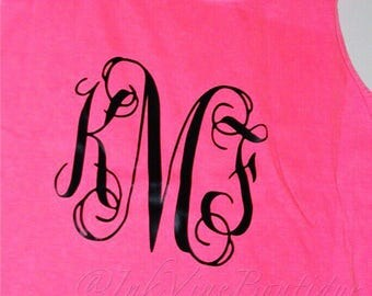 Comfort Colors Tank Top, Monogram Tank, Monogram Gym Shirt, Monogrammed Tank Top, Bridesmaid, Sorority Tank, Vacation Tank, Monogrammed Top