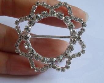large slider flower button crystal rhinestone diamante link connector UK BT2