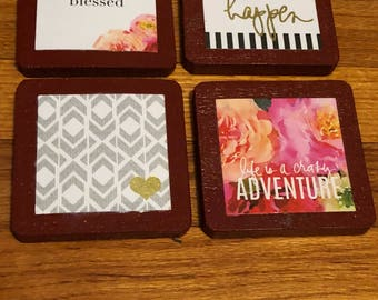 Set of four beautiful handmade wooden coasters