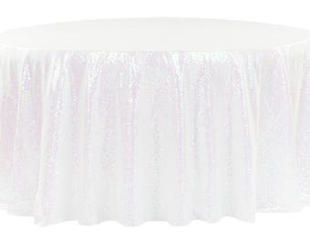 """120"""" Round Iridescent Sequin Linen Tablecloth Table Cloth Rainbow Cake Sweet Heart Wedding Sparkly Glittery Unicorn Wholesale Fast Shipping"""
