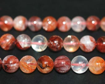 15 Inches,AA Natural Red Iron Crystal Quartz round beads 6mm 8mm 10mm  High quality beads,loose beads,semi-precious stone