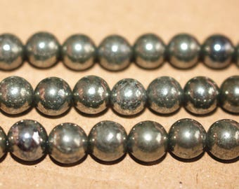 Natural  Iron Pyrite Round Loose Beads  2mm 3mm 4mm 6mm 8mm 10mm 12mm  ,15 Inches Full strand
