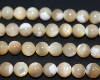 Natural MOP of Pearl Shell smooth and round shell beads 6mm 8mm 10mm ,loose shell round beads,15 inches full strand