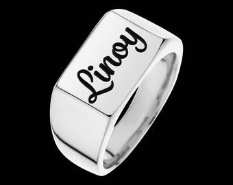 Silver Name Ring - Personalized Ring - Personalized Signet Ring - Custom Ring - Personalized Jewelry - Personalized Gift - Engraved Ring