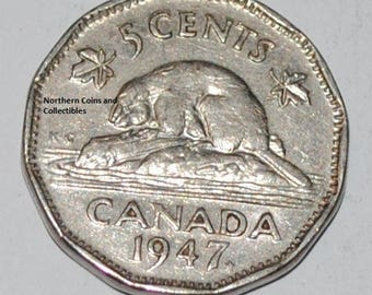 Canada 1947 ML 5 Cents George VI Canadian Nickel Maple Leaf