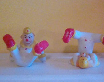 2 Adorable Vintage Porcelain Clowns