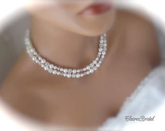 White Pearl and Crystal Double Strand Necklace Silver Rhinestone Necklace Bridal Jewelry