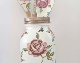 Decoupage Jar  with Set of Wooden Spoons