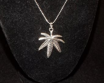 Large  Leaf Necklace On Ball Chain.