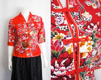 70s floral qipao -- vintage cheongsam, red floral jacket, mandarin collar, chinese, retro floral, 1970s 70s, small