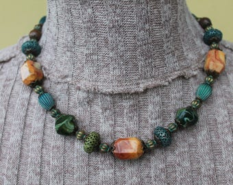 """Necklace""""Sunlight in Forest"""", natural stones, metal, beads, unique, handmade, for everyday, green, blue, copper color"""