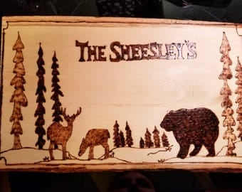 Handmade , Wood art , wood burnt, nature themed, deer and bear ,customized, last name sign,unique gift