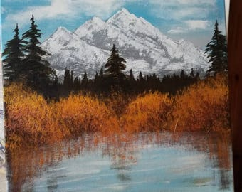 Landscape Acrylic Painting Mountains Lake Forest Wall decor Wall art Wall hangings 40/40 cm