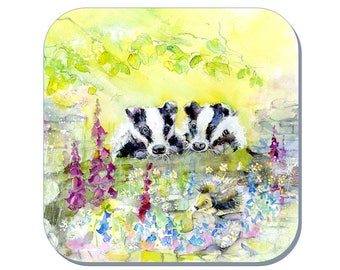 Badger Coaster (Corked Back) - from an original Sheila Gill Watercolour Painting