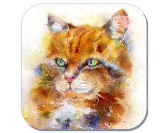 I'm Purr-fect - Ginger Tom Cat Coaster (Corked Back). From an original Sheila Gill Watercolour Painting
