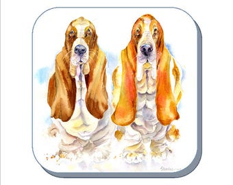 Basset Hound Dog Coaster (Corked Back). From an original Sheila Gill Watercolour Painting
