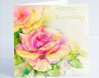 Rose-Happy-Birthday Greeting Card - From an Original Watercolour by Sheila Gill