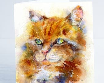 I'm Purrfect - Cat Greeting Card - Taken from an original Sheila Gill Watercolour Painting.