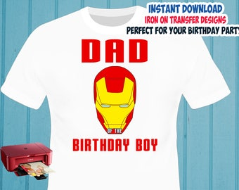 Iron Man Iron On Transfer , Daddy Birthday Shirt Iron On Transfer , Digital Files , PNG , High Resolution , Instant Download