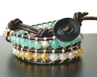 Wrap bracelet with crystals and hard stones