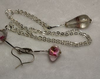 18in Lampworked necklace ,Lamp worked beads in clear with lavender and pink, Necklace, Earrings, Unique, One of a kind, Jewelry