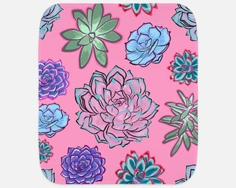 "Gorgeous Succulent Illustrations - 12""x16"" Baby Burp Cloth - Baby Gift - Newborn Gift"