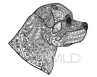 Rottweiler Zen tekening zwart / wit