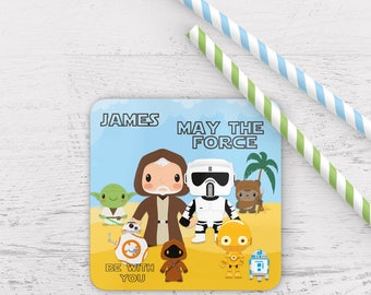 Personalised star wars coaster, star wars coaster,may the force be with you coaster,obi coaster,star wars gift, star wars
