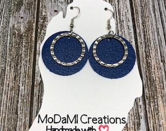 2 in, blue circles, silver, leather earrings, handmade earrings, nickle free, drop earrings, dangle earrings, lightweight