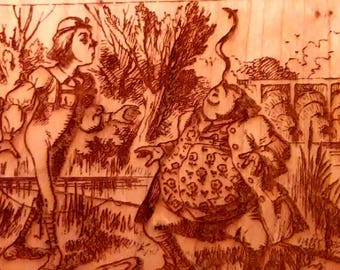 """Alice's Adventures in Wonderland Engraved Book Page:  Chapter 5, """"Advice from a Caterpillar"""",  Solid Cherry, Lewis Carroll, Sir John Tenniel"""