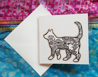 Hand illustrated greetings card cat kitty silhouette pattern celebration