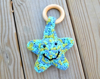 Crochet Star Teether with Rattle