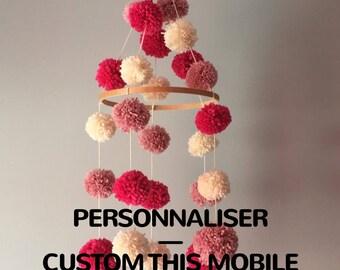 Wool balls baby mobile, tassels, custom colors, nursery kids baby, minimalist, modern décor, custom mobile