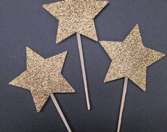Twinkle Twinkle Little Star Cupcake Toppers - Gold Glitter Star