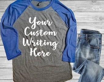 Custom Shirts, Custom Unisex Raglan, Custom Shirt For Women, Custom Shirt For Men, Custom Tshirts, Make your Own Shirt, Personalized Gift