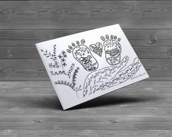 Love in my arms! Unique Design Greeting Card. Blank Inside. White Envelope. Plastic Bag. Baby Born
