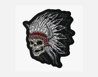 Native Indian chief skull embroidery biker patch