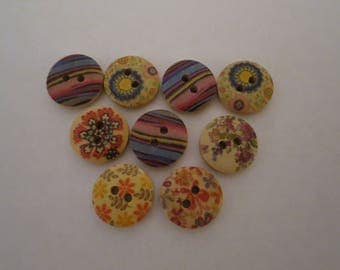 9 assorted design buttons ideal for craft, knitting, sewing, fancy dress,