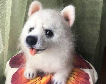 Pomeranian,now-white Spitz, Dogs, breed of dogs, felting toys